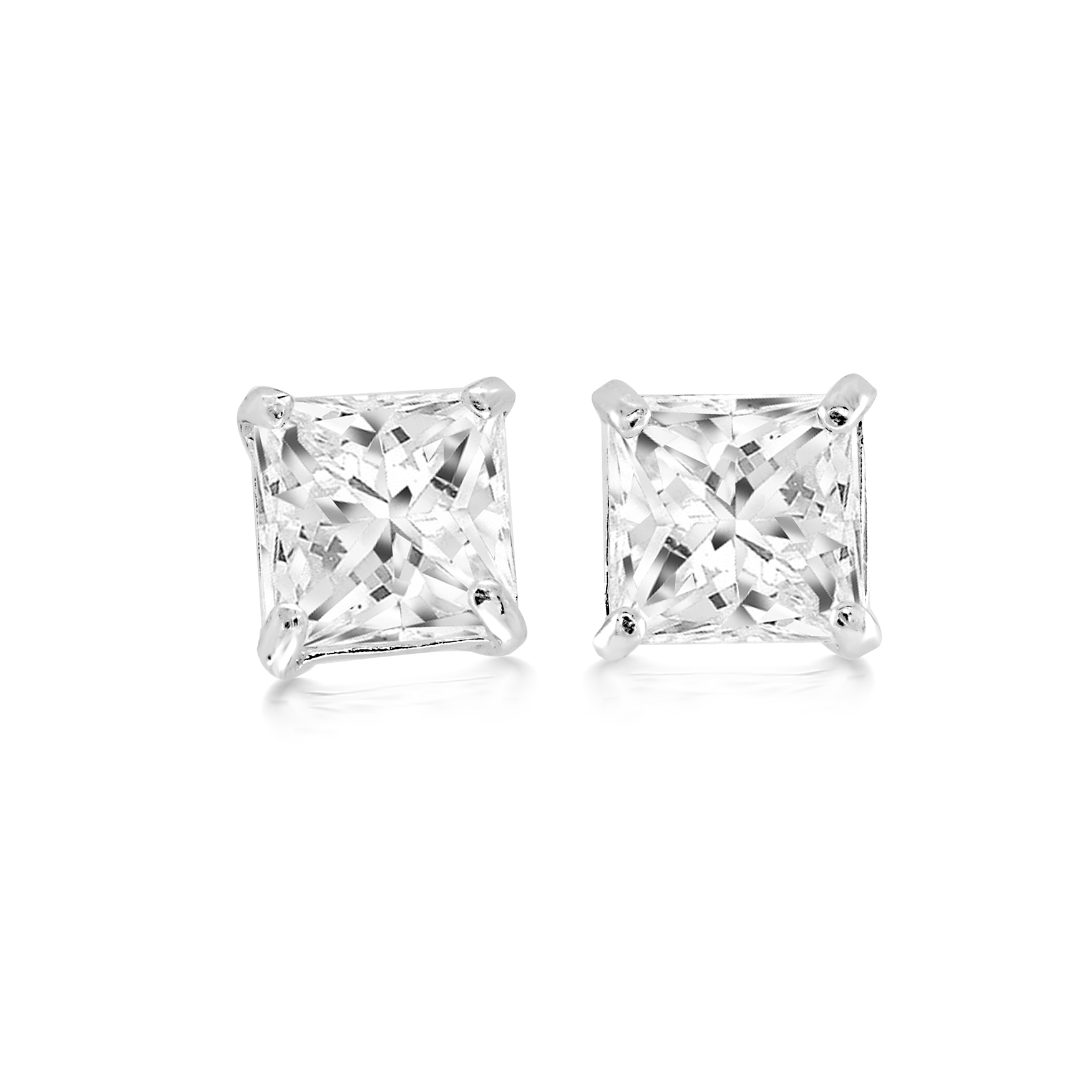 Boucles d'oreilles à tiges fixes serties de zircons cubiques - en or blanc 14K