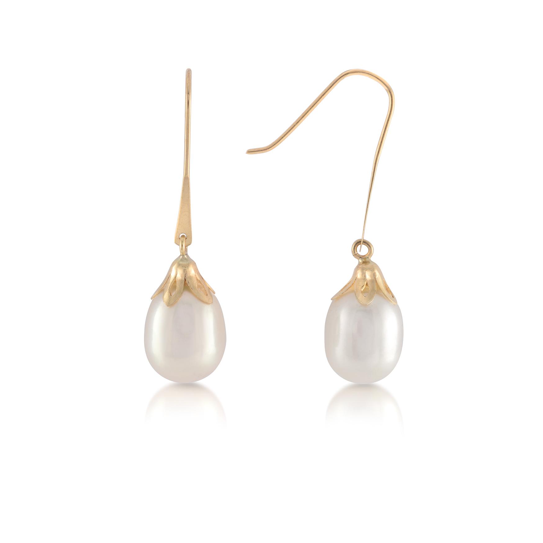 Dangling fresh water pearl earrings in 10K yellow gold