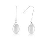 Boucles d'oreilles pendantes serties de perles d'eau douce - en or blanc 10K