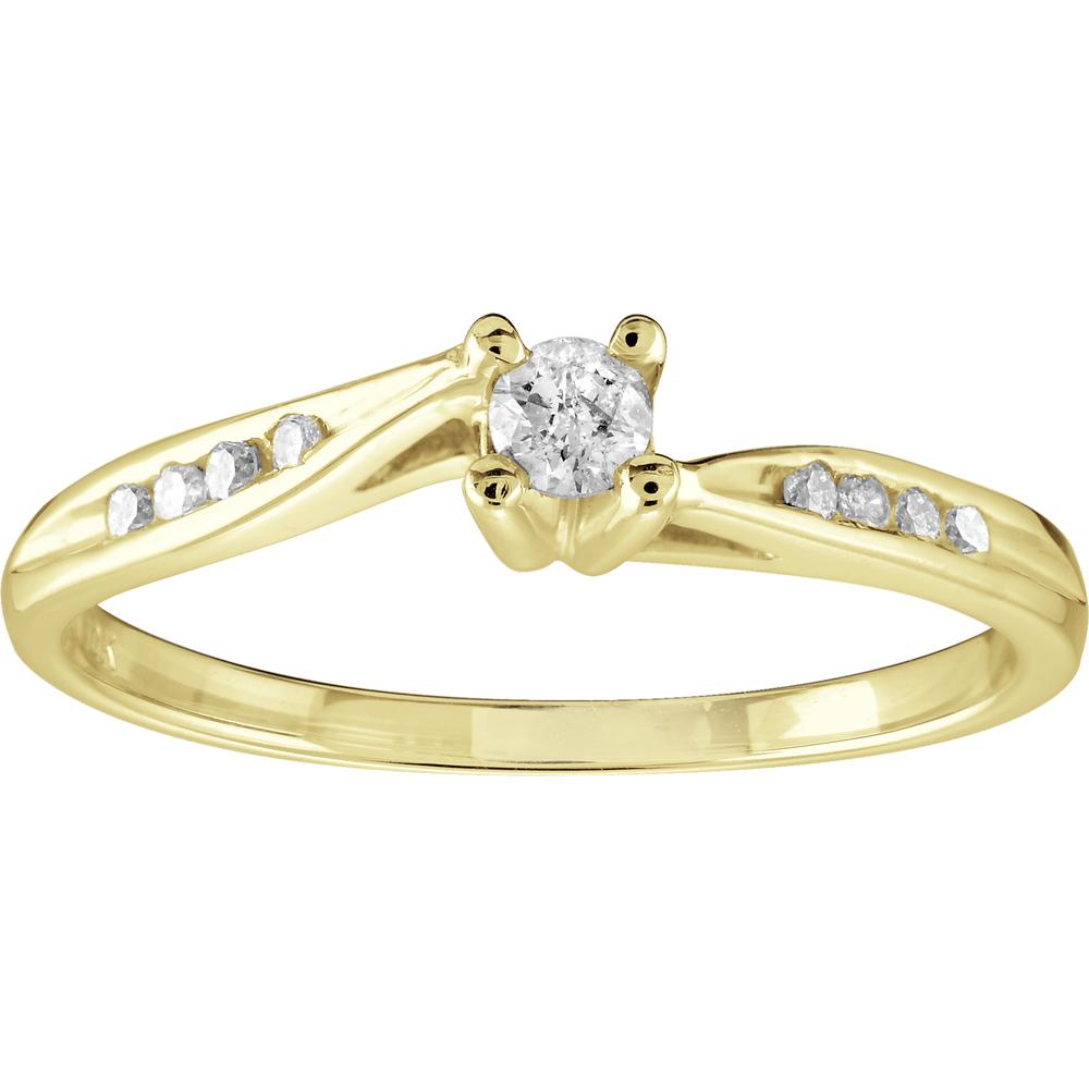 Bague de fiançailles pour femme - Or jaune 10K & Diamants