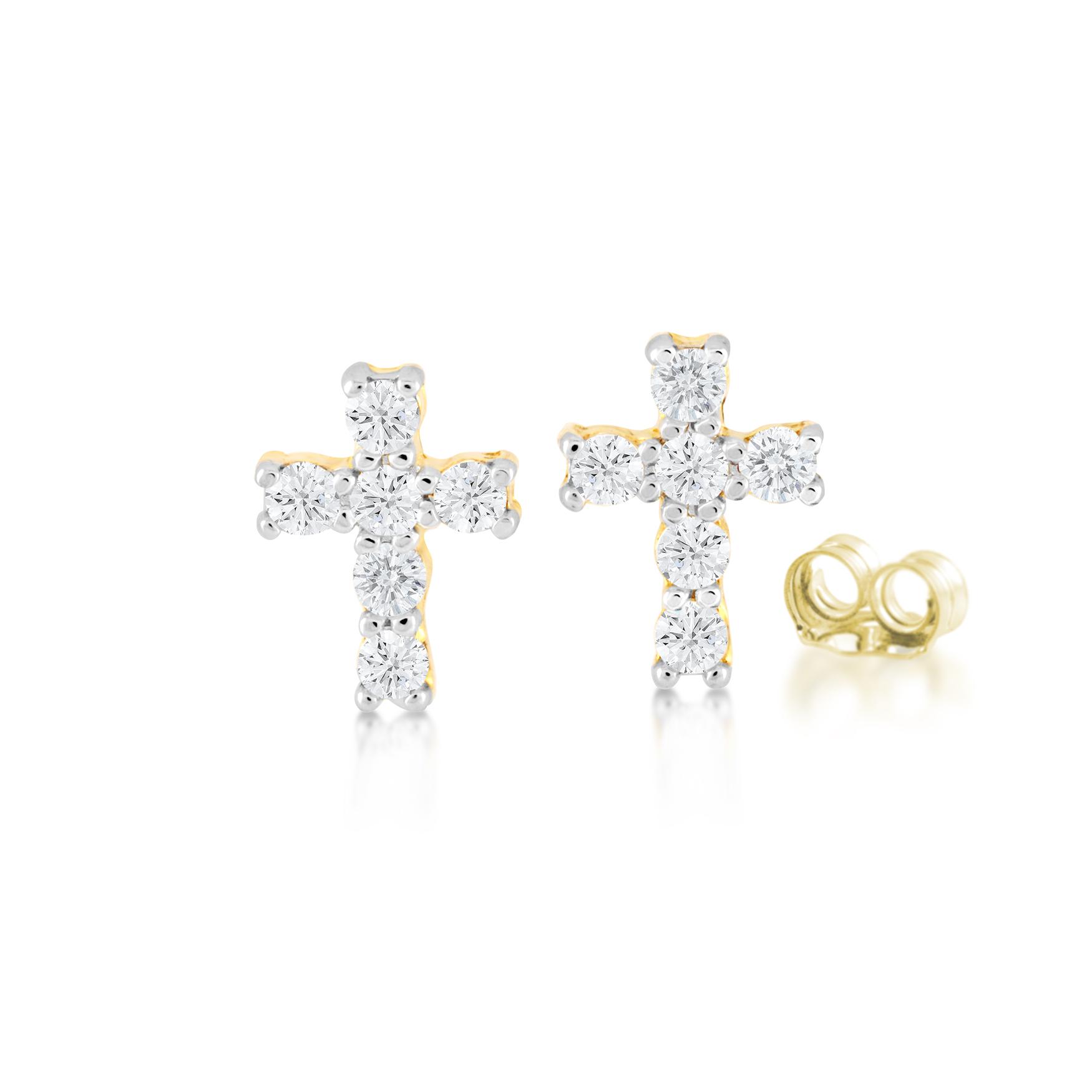 Boucles d'oreilles croix pour enfant avec zircons cubiques - en or jaune 10K - Croix mesure 0.5cm par 0.7cm