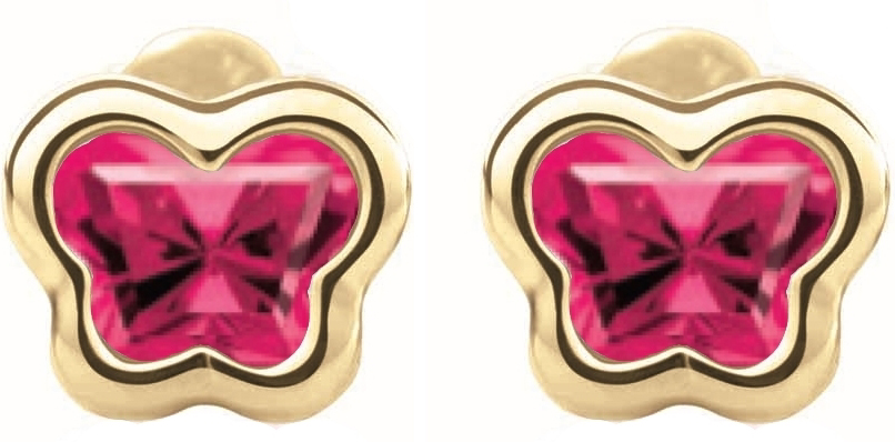 Boucles d'oreilles BFLY à tiges vissées pour bébé - Or jaune 14K& Rubis de laboratoire (mois de Juillet)