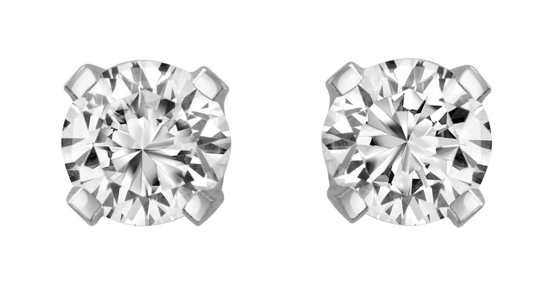 Boucles d'oreilles à tiges fixes - Argent sterling & zircons cubiques 2X0.25 Carat