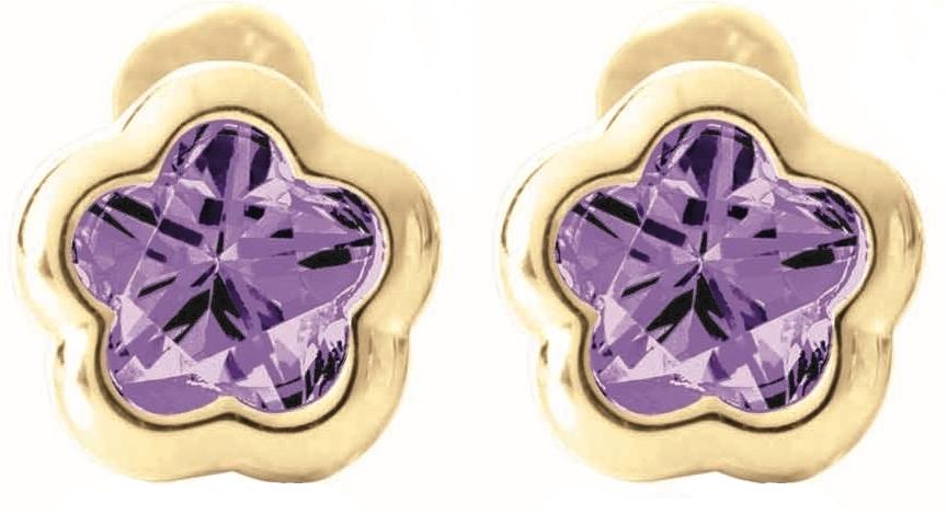 Boucles d'oreilles BFLY à tiges vissées pour bébé - Or jaune 14K &Améthystes (mois de Février)