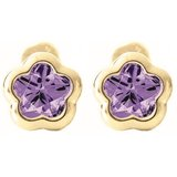 Boucles d'oreilles BFLY à tiges vissées pour bébé - Or jaune 14K & Améthystes (mois de Février)
