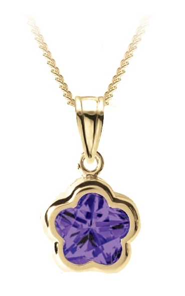 Flower BFLY pendant for babies with amethyst (month of February) - 14K yellow Gold