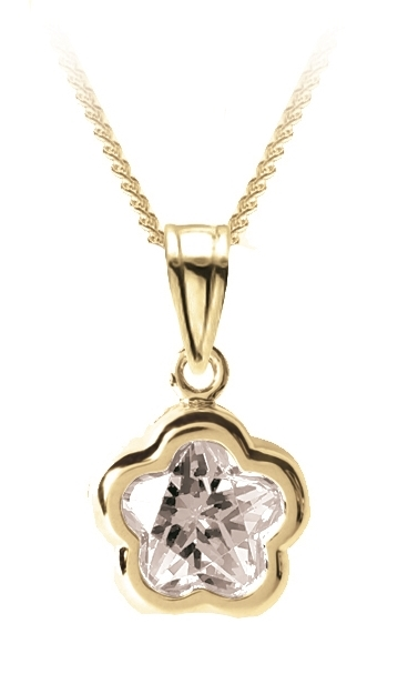 Flower BFLY pendant for babies with white topaz (month of April) - 14K yellow Gold