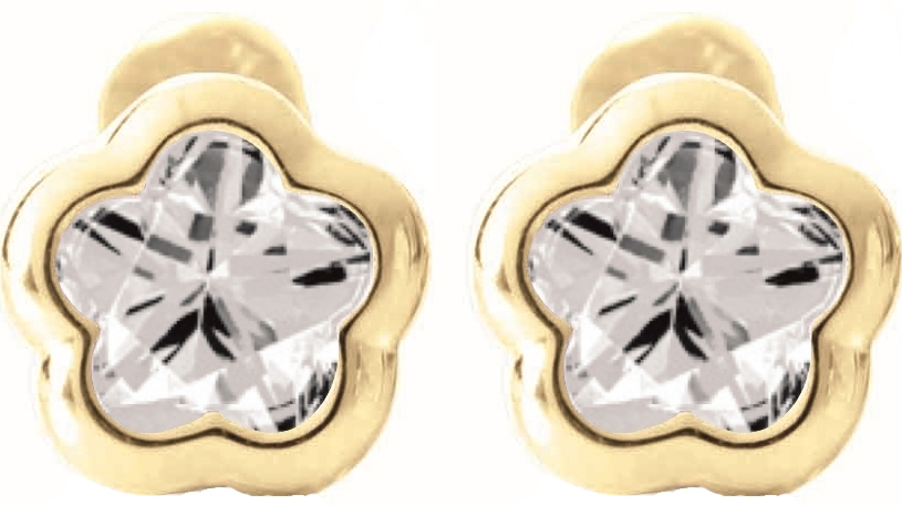 BFLY screw-back stud earrings for babies with white topaz (month of April) - in 14K yellow Gold