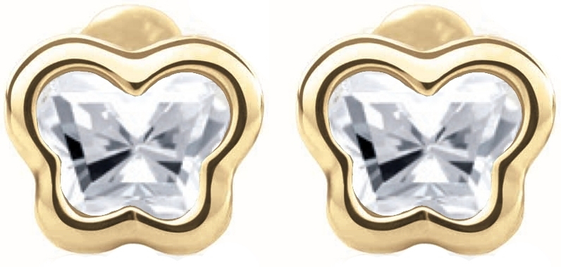 screw-back stud earrings for babies - 14K yellow Gold & White topaz (month of April)