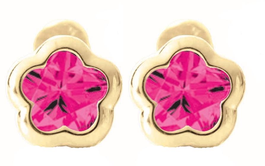 Boucles d'oreilles BFLY à tiges vissées pour bébé - Or jaune 14K & Rubis de laboratoire (mois de Juillet)