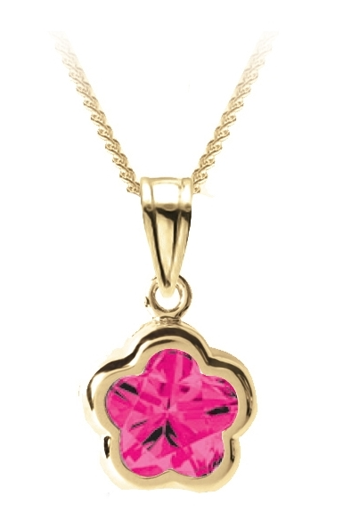 Flower BFLY pendant for babies with created ruby (month of July) - 14K yellow Gold