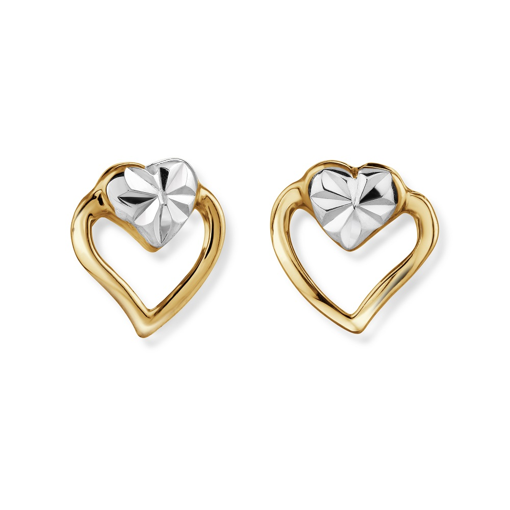 Heart stud earrings for child - 10K 2 tone Gold