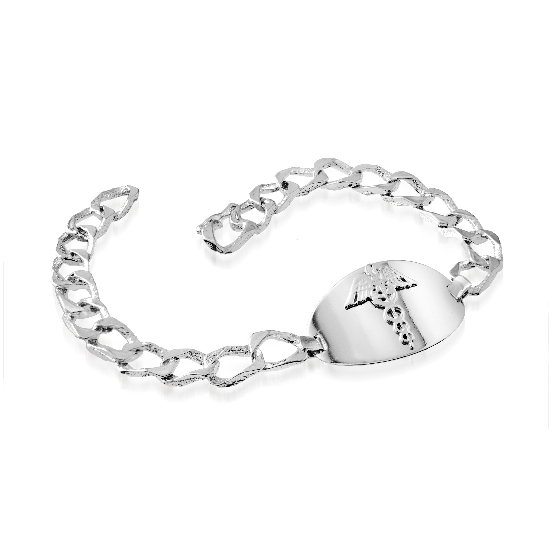 Bracelet médical 8'' pour homme - Argent sterling