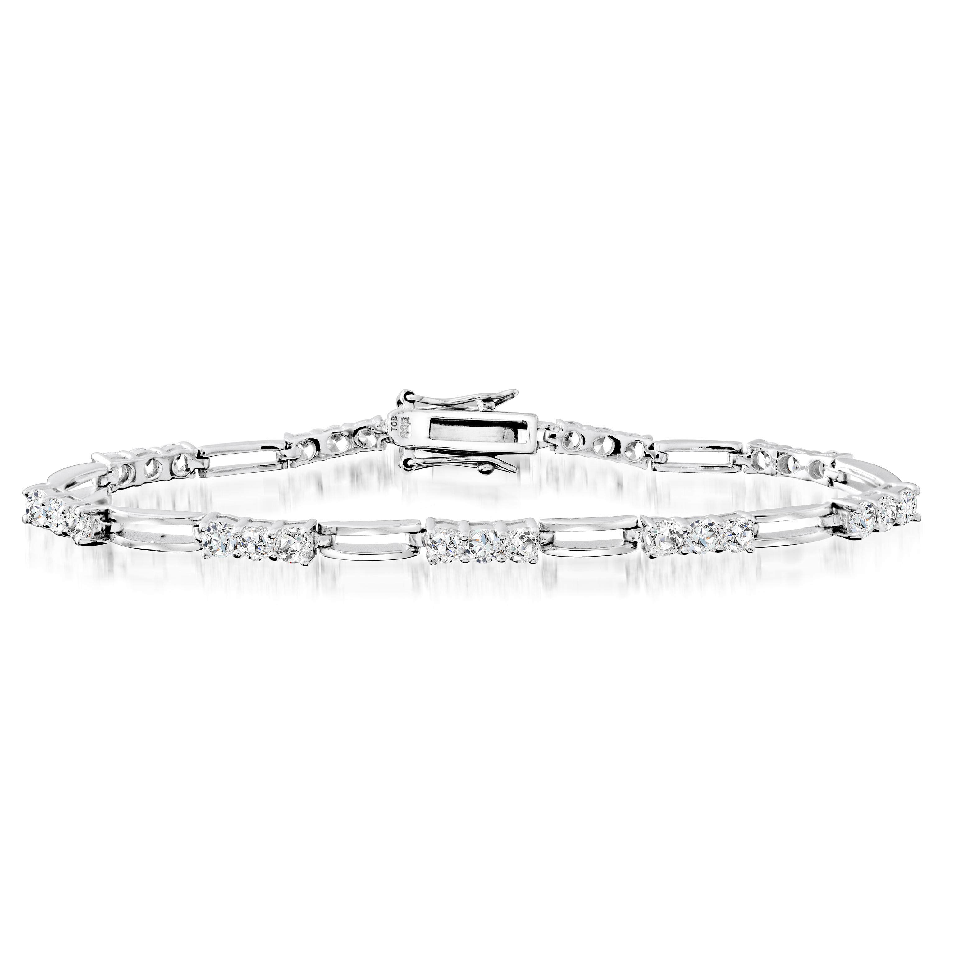 Bracelet 7'' pour femme - Argent sterling & Zircons cubiques
