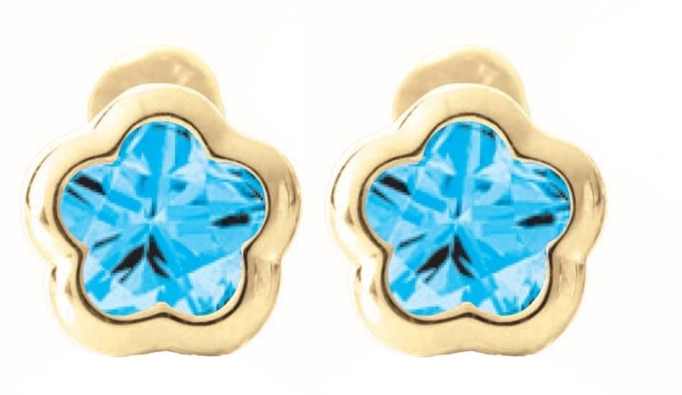 screw-back stud earrings for babies - 14K yellow Gold & Blue topaz (month of December)