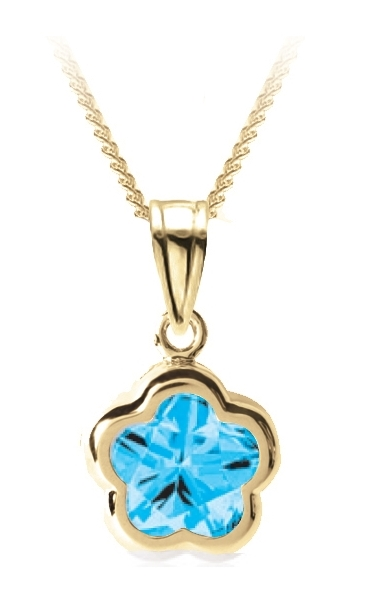 Flower BFLY pendant for babies with blue topaz (month of December) - 14K yellow Gold