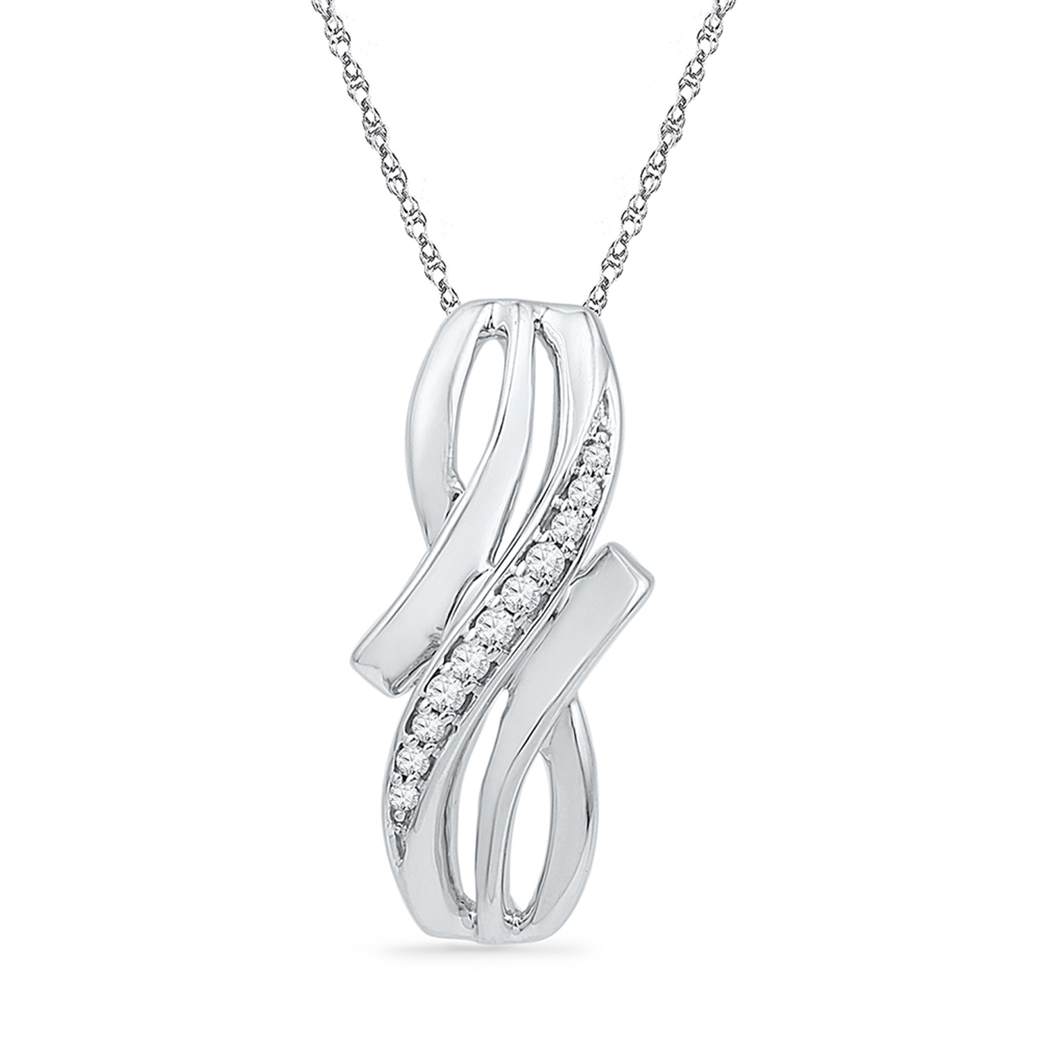 Diamond pendant 0.03 Carats T.W. in sterling silver - chain included - length of pendant: 2.1cm