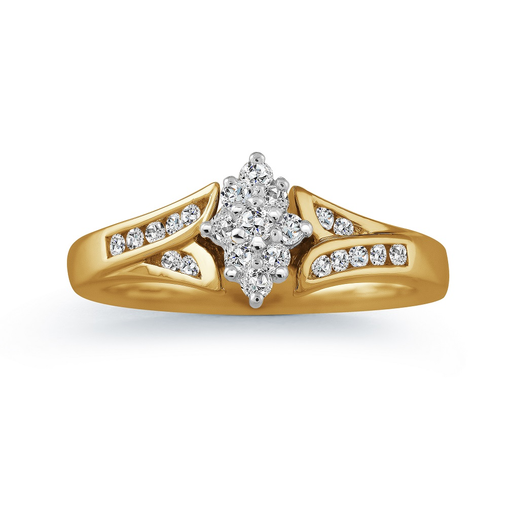 Engagement ring for woman - 10K yellow Gold & Diamonds