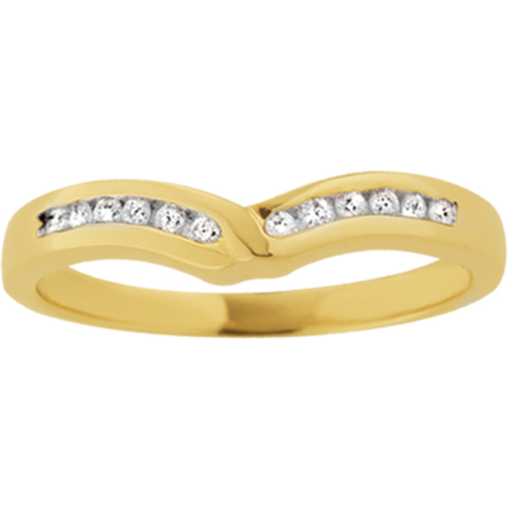 Wedding band for woman - 10K yellow Gold & Diamonds