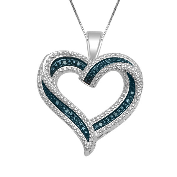 Heart pendant with blue and white diamonds 0.03 Carats T.W. - in 10K white Gold - chain included