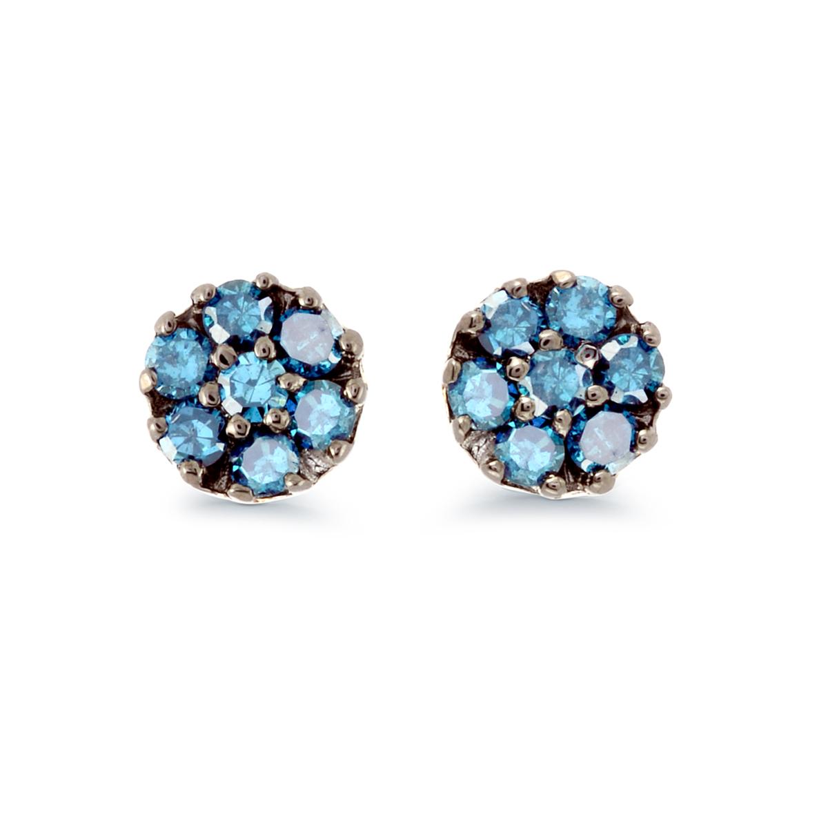 Boucles d'oreilles fleurs à tiges fixes serties de diamants bleus totalisant 0.20 Carats - Argent sterling