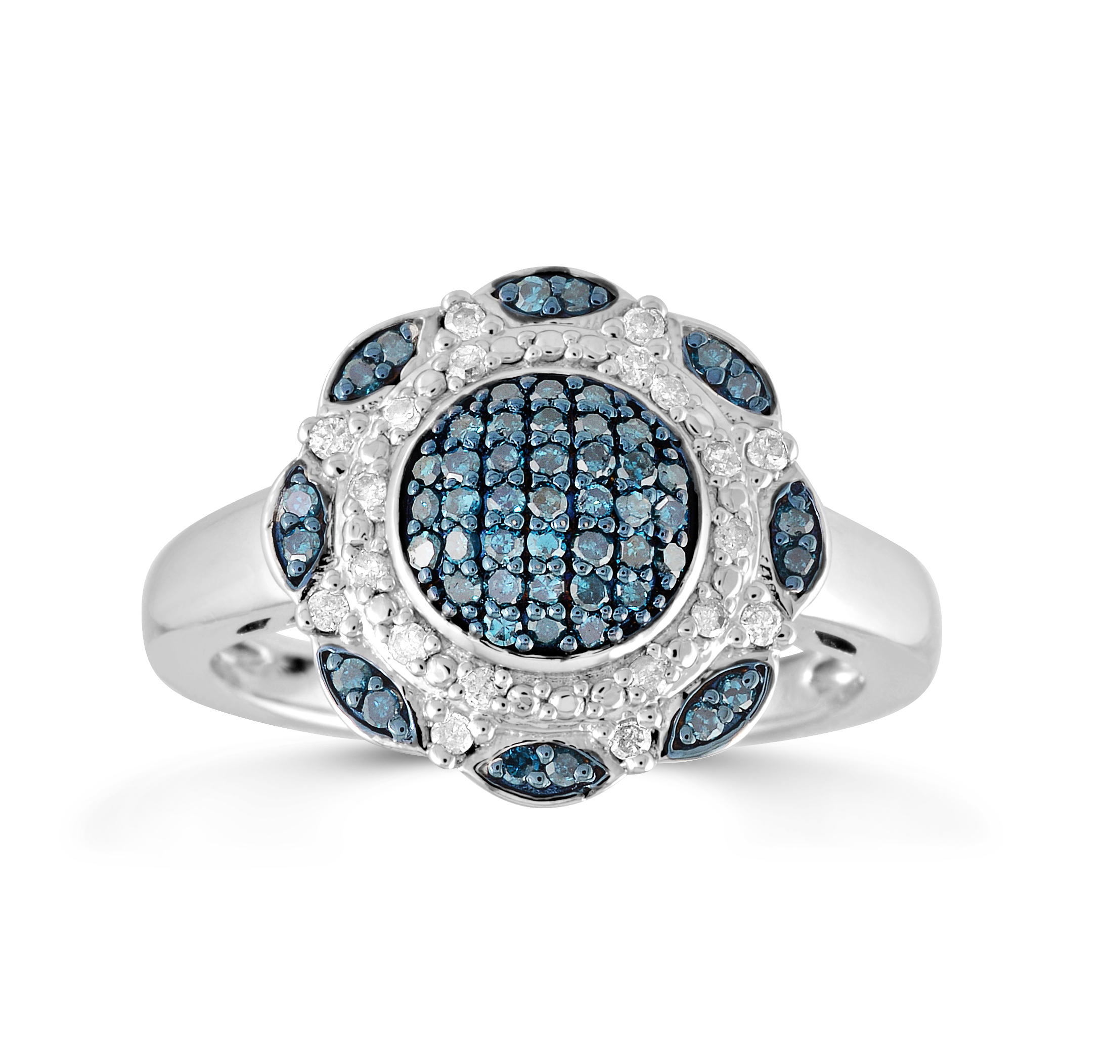Cocktail ring in sterling silver with blue and white diamonds 0.33 Carats T.W.