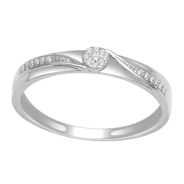 Bague sertie de diamants totalisant 0.05 Carats Pureté:I Couleur:HI - en or blanc 10K