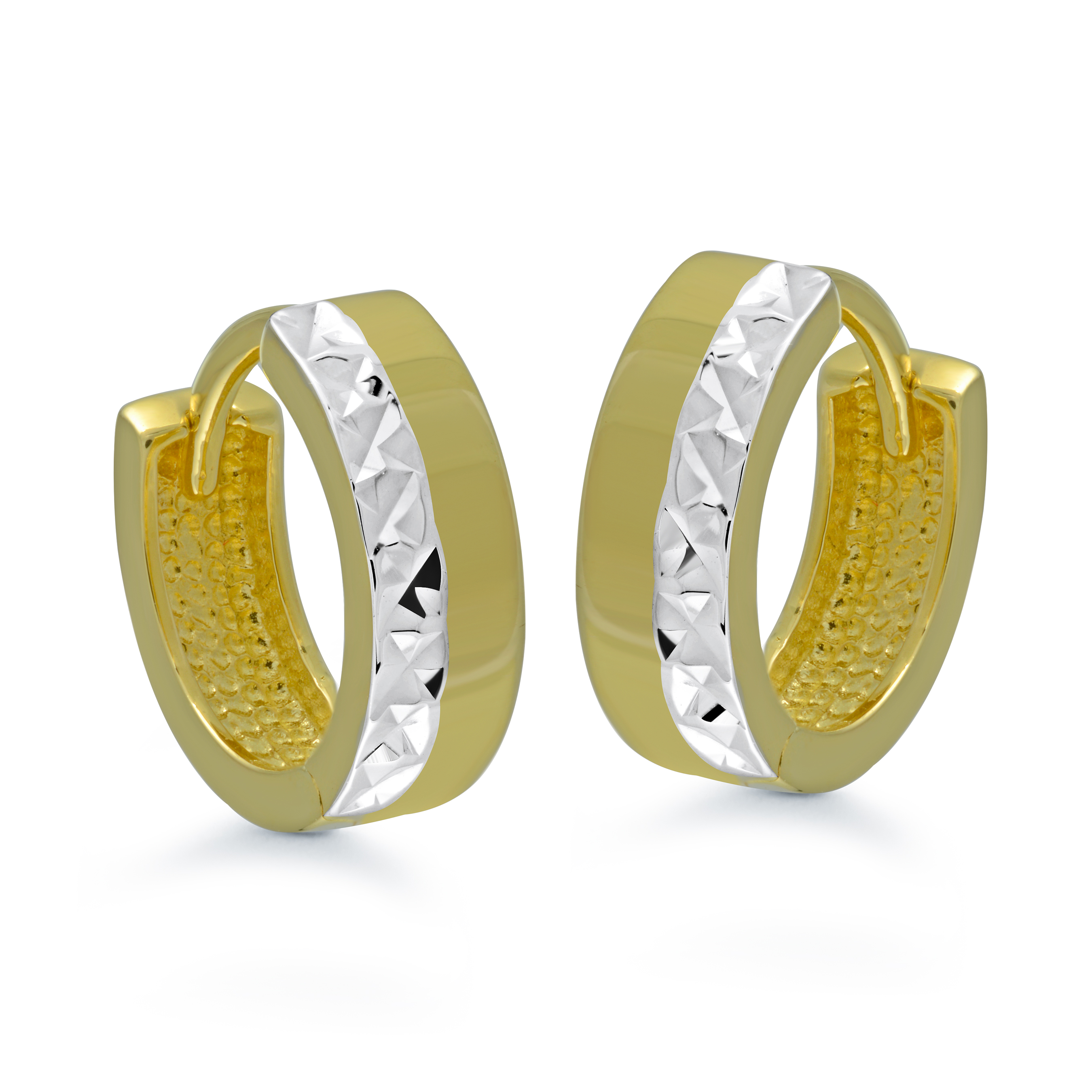 Hoop earrings for women - 10K 2-tone Gold (yellow and white)