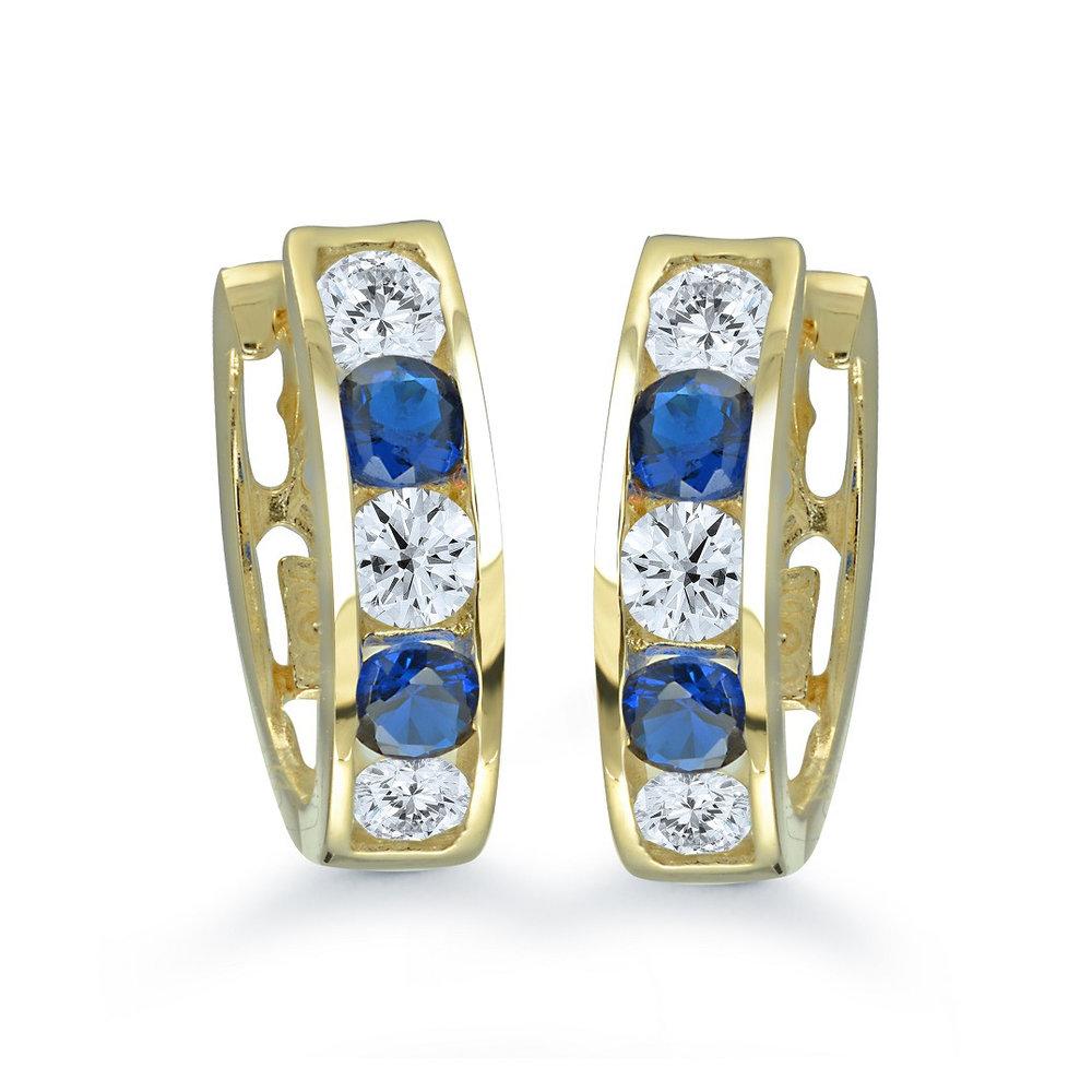 Boucles d'oreilles anneaux pour femme - Or jaune 10K & Zircons cubiques