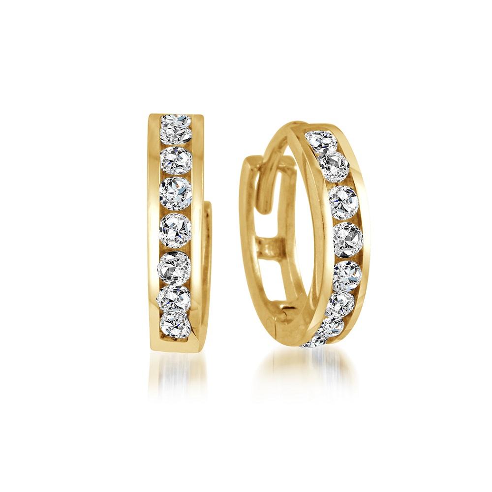 Boucles d'oreilles pour femme - or jaune 10K & Zircon Cubique