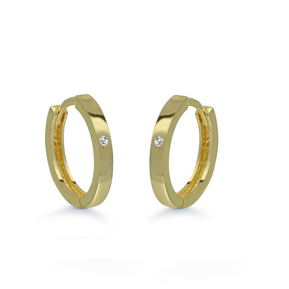 Boucles d'oreilles anneaux sertis de zircons cubiques blancs - en or jaune 10K