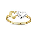 Women's Hearts ring - 10K 2-tone Gold (yellow and white)