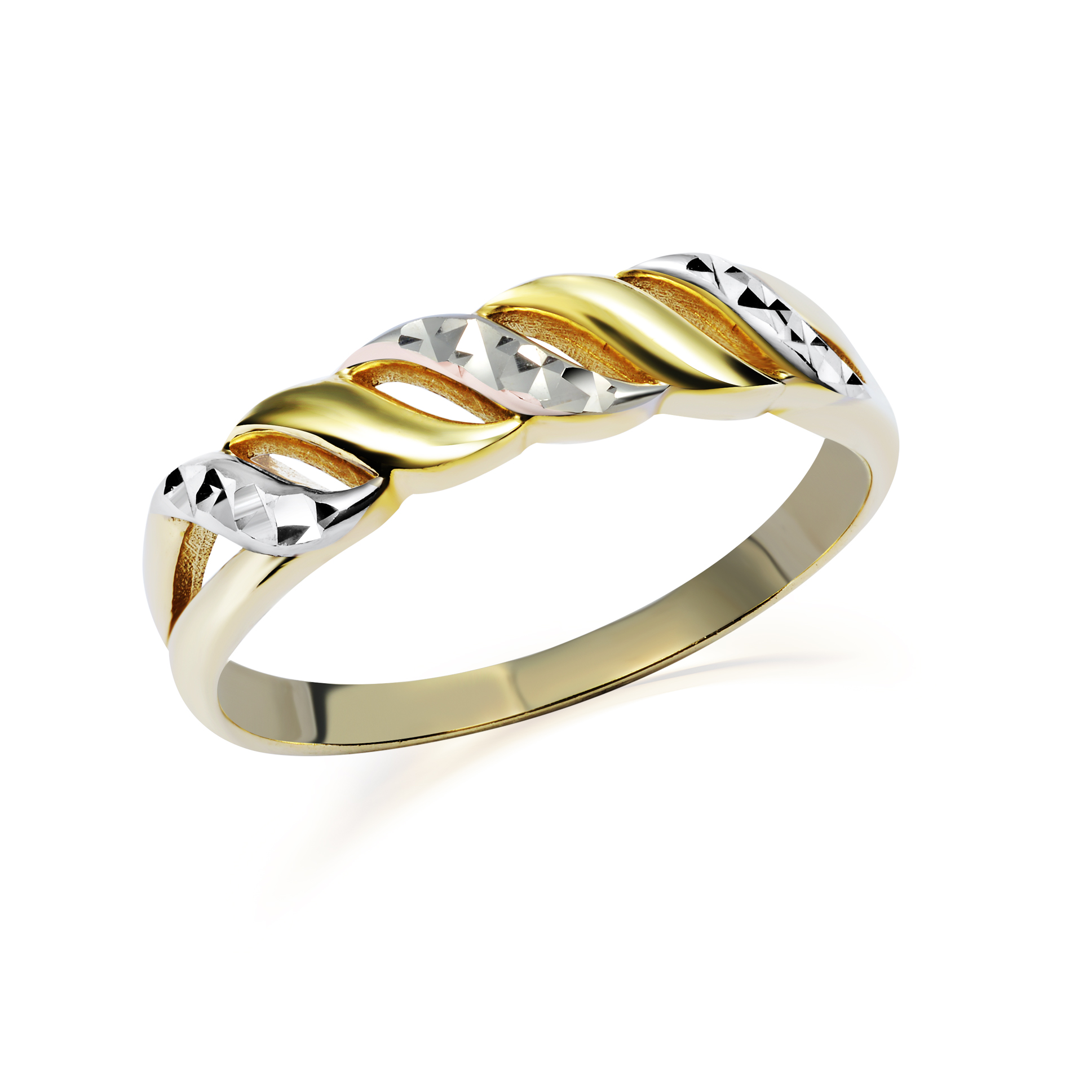 Women's Ring with pattern - 10K 2-tone Gold