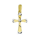 Pendentif croix pour enfant - Or 2-tons 10K (jaune et blanc)