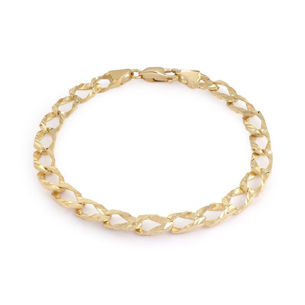 8'' curb bracelet for men - 10K yellow Gold