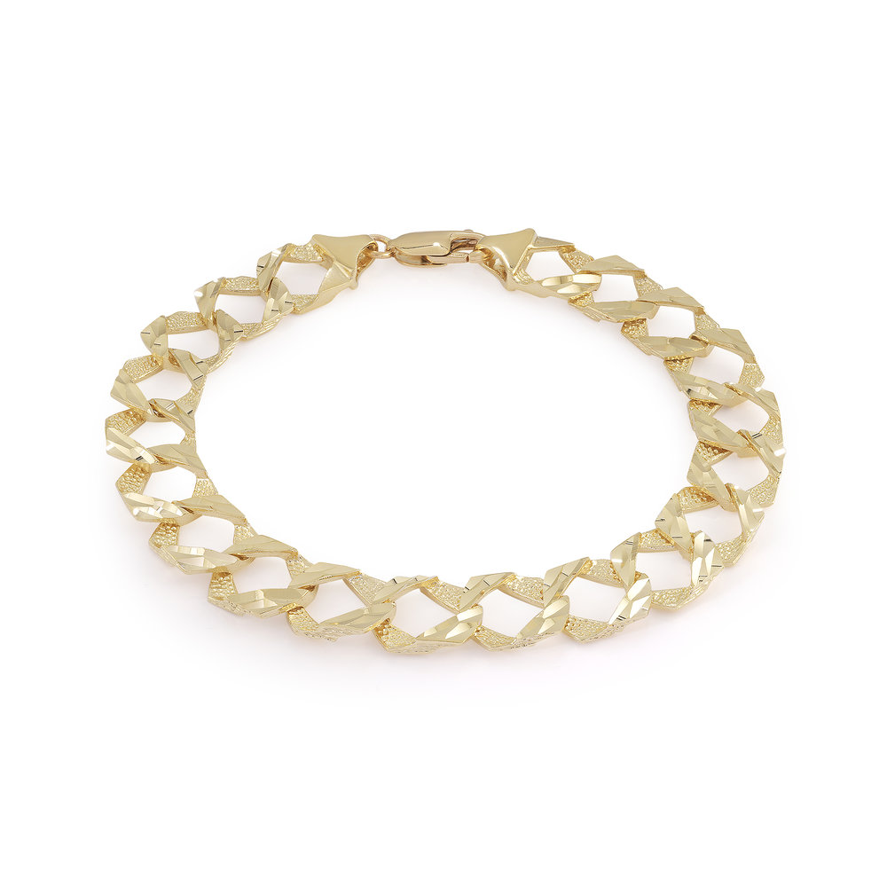 Bracelet gourmette 8'' pour hommes - Or jaune 10K
