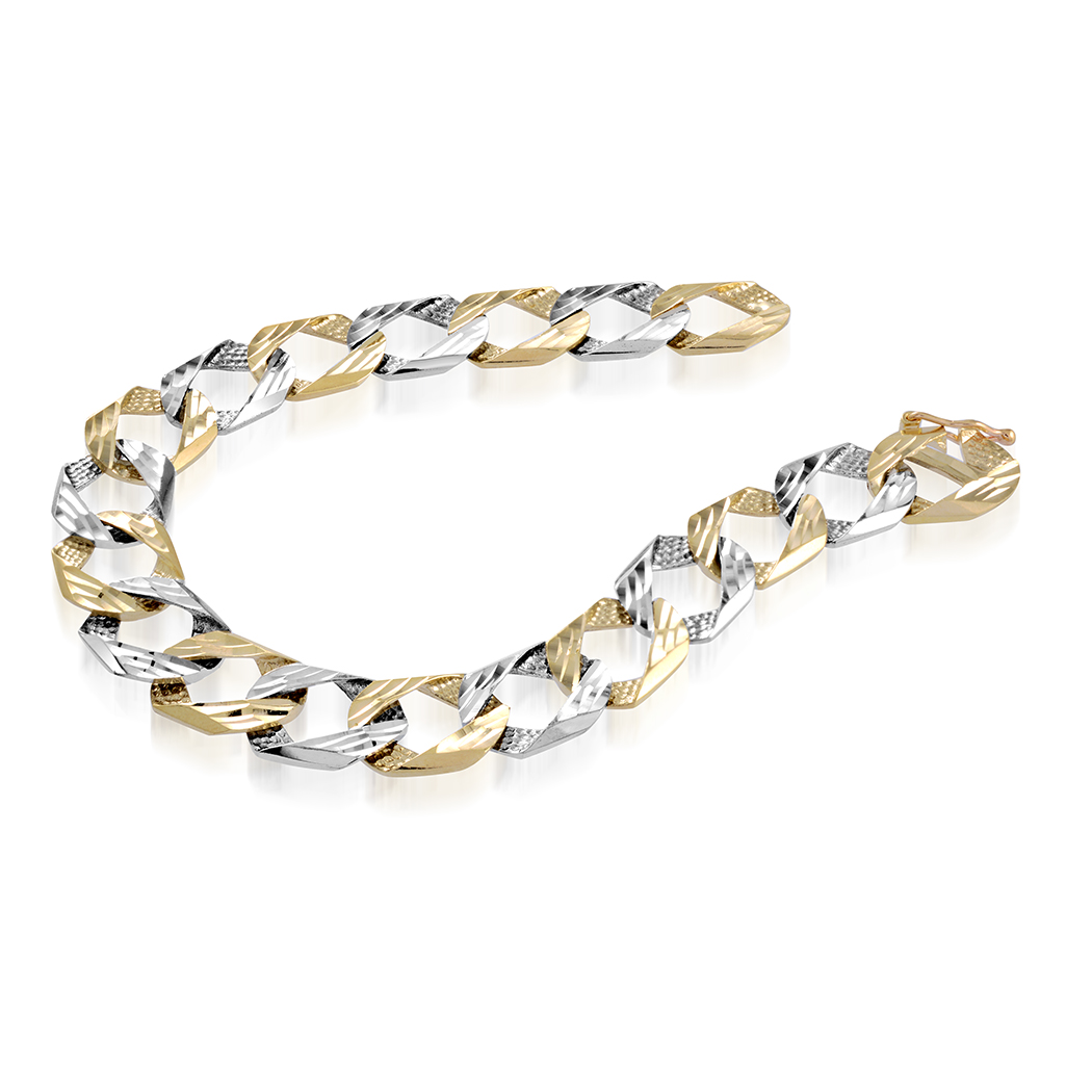 8'' Curb bracelet for men - 10K 2-tone Gold (white and yellow)
