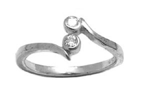 Toe ring with cubic zirconia - in sterling silver