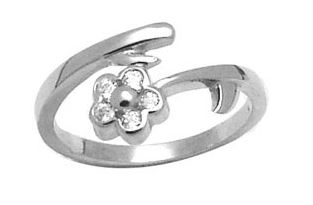 Flower toe ring  with cubic zirconia - in sterling silver