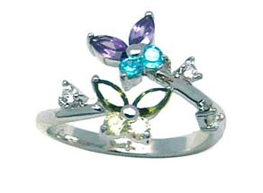 Toe ring with cubic zirconia (multi-colored) - in sterling silver