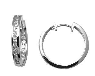 Boucles d'oreilles anneaux serties de zircons cubiques - en argent sterling