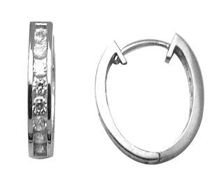 Boucles d'oreilles ovales de genre Huggies serties de zircons cubiques - en argent sterling
