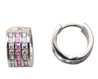 Boucles d'oreilles de genre Huggies serties de zircons cubiques (blancs et roses) - en argent sterling