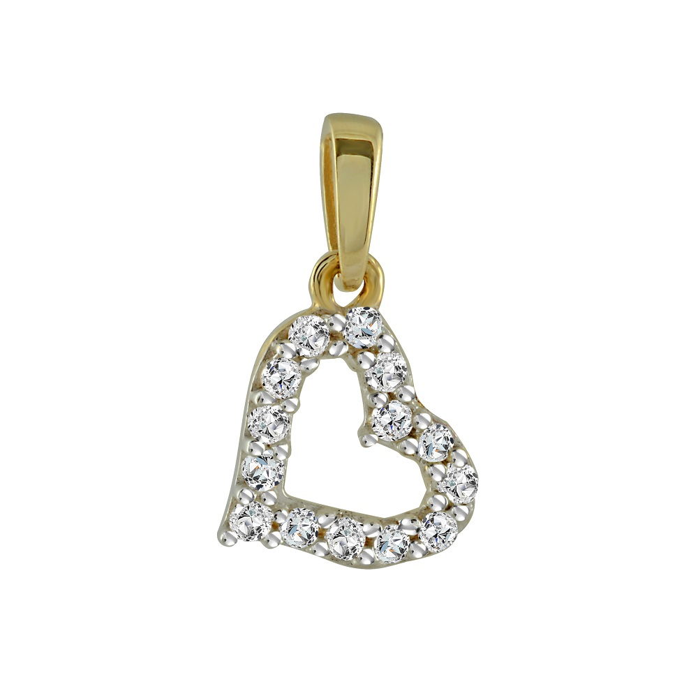Heart pendant for child - 10K yellow gold & Cubic Zirconia