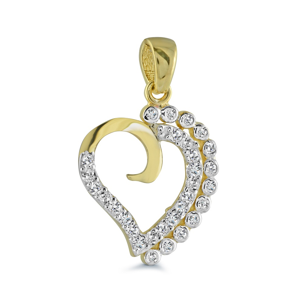 Pendentif coeur serti de zircons cubiques - en or jaune 10K