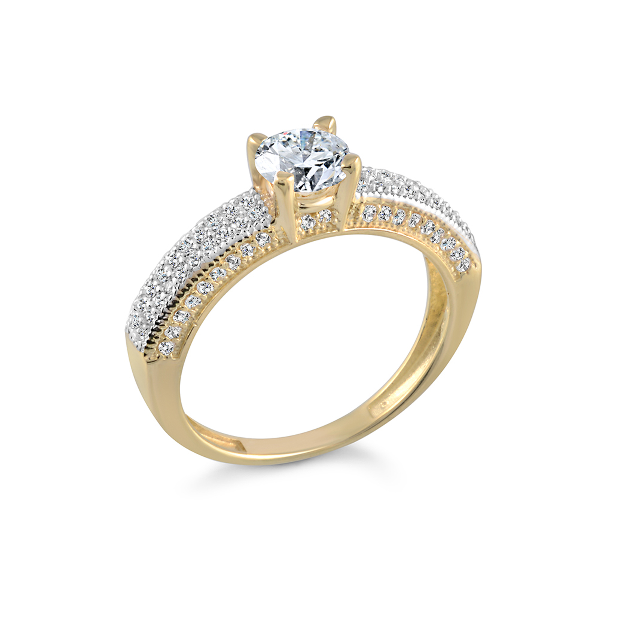 Engagement ring - 10K yellow Gold & Cubic zirconia