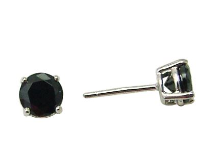 Boucles d'oreilles à tiges fixes en argent sterling serties de zircons cubiques noirs