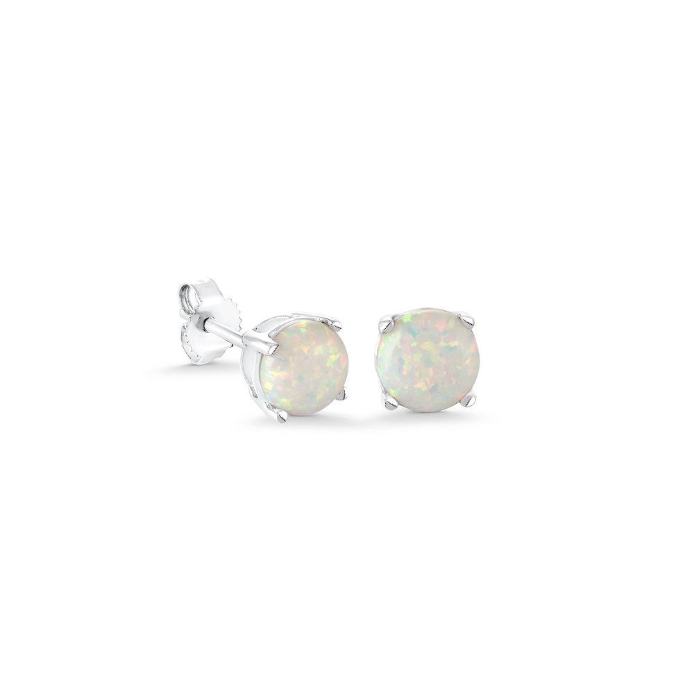 Boucles d'oreilles à tiges fixes en argent sterling serties d'opales de laboratoire
