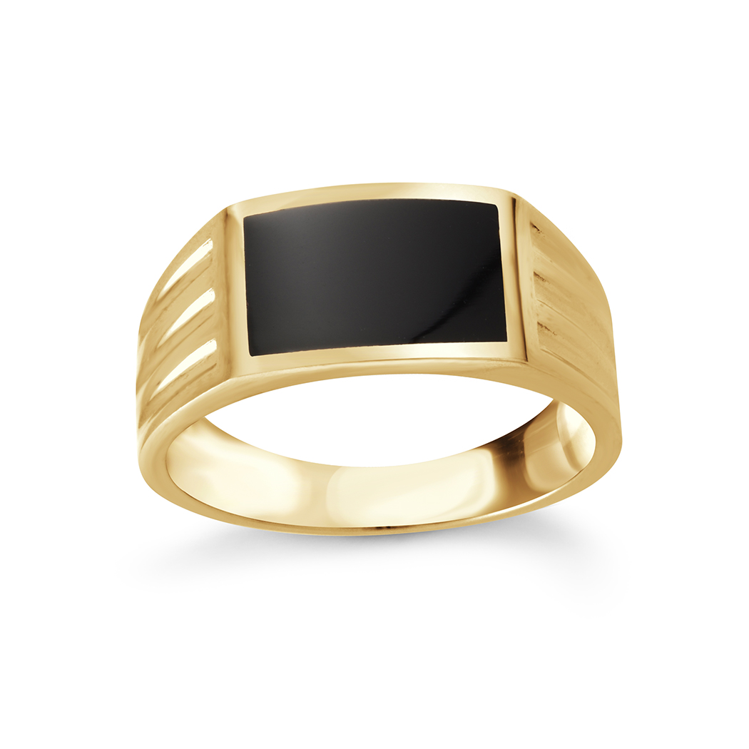 Ring for Teenager with onyx - 10K yellow gold