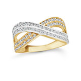 Cocktail ring - 10K 2-tone Gold (white and yellow) & Cubic zirconia